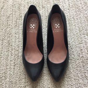 Vince Camuto Black Leather Heels, EUC